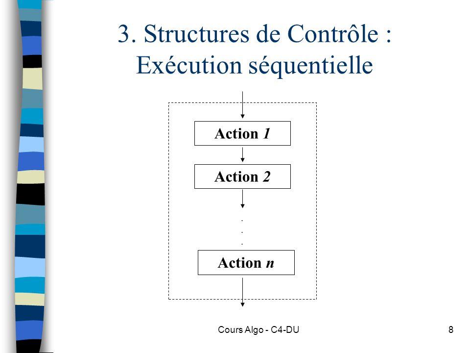 Cours Algo - C4-DU8 3. Structures de Contrôle : Exécution séquentielle Action 1 Action 2 Action n......