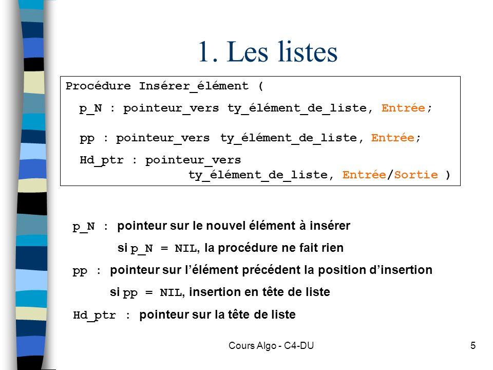 Cours Algo - C4-DU5 1. Les listes Procédure Insérer_élément ( p_N : pointeur_vers ty_élément_de_liste, Entrée; pp : pointeur_vers ty_élément_de_liste,