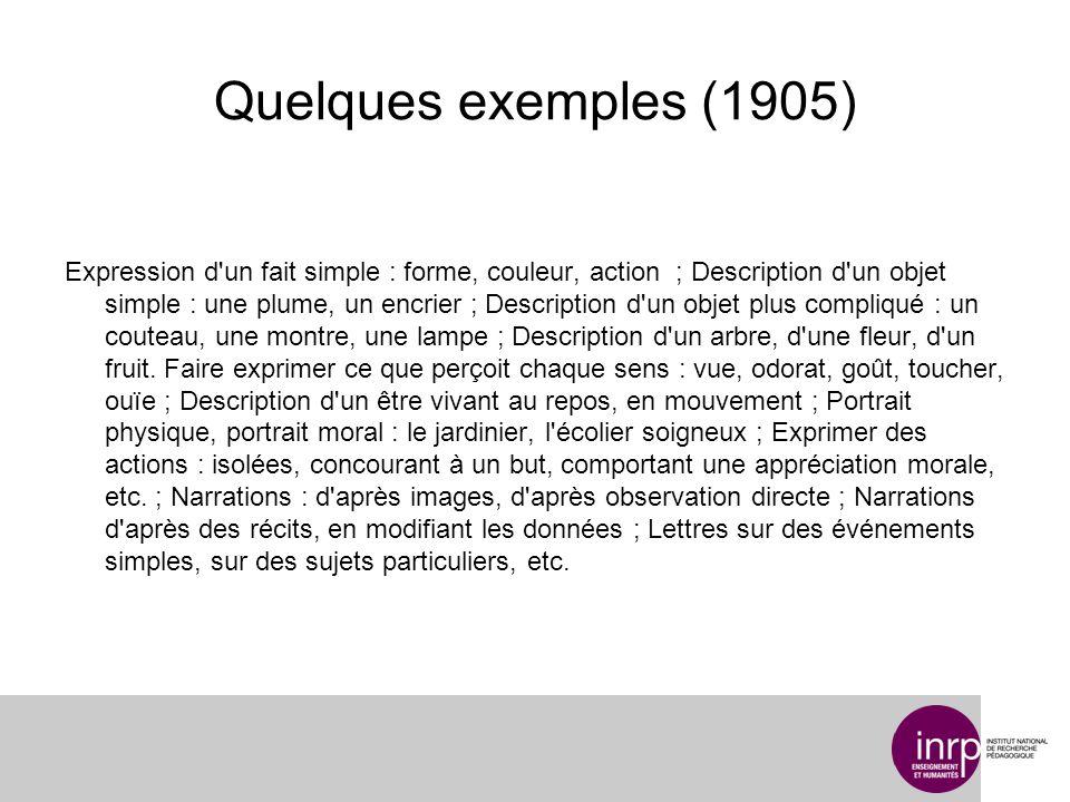 Quelques exemples (1905) Expression d'un fait simple : forme, couleur, action ; Description d'un objet simple : une plume, un encrier ; Description d'