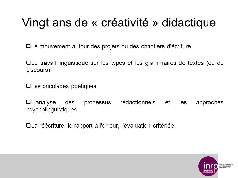 Vingt ans de « créativité » didactique Le mouvement autour des projets ou des chantiers d'écriture Le travail linguistique sur les types et les gramma