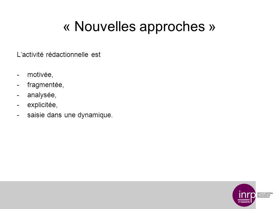 « Nouvelles approches » Lactivité rédactionnelle est -motivée, -fragmentée, -analysée, -explicitée, -saisie dans une dynamique.