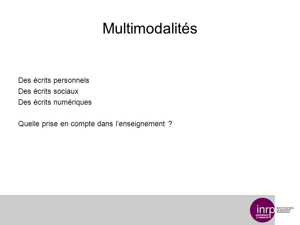 Multimodalités Des écrits personnels Des écrits sociaux Des écrits numériques Quelle prise en compte dans lenseignement ?