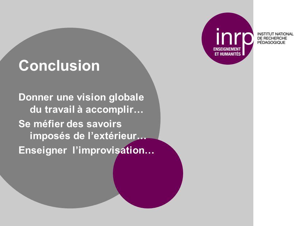 Conclusion Donner une vision globale du travail à accomplir… Se méfier des savoirs imposés de lextérieur… Enseigner limprovisation…
