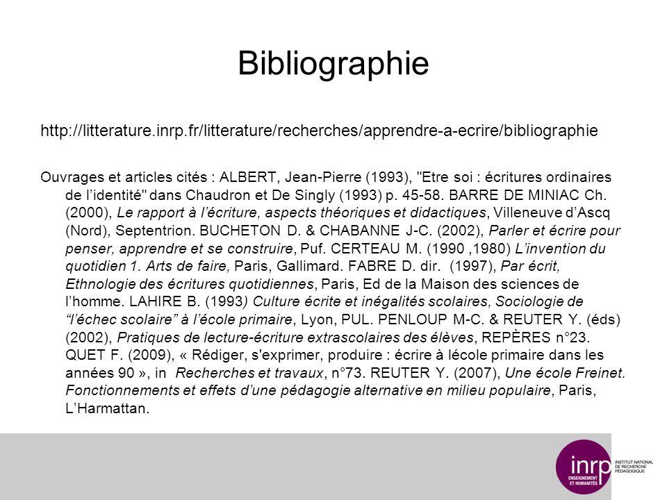 Bibliographie http://litterature.inrp.fr/litterature/recherches/apprendre-a-ecrire/bibliographie Ouvrages et articles cités : ALBERT, Jean-Pierre (199