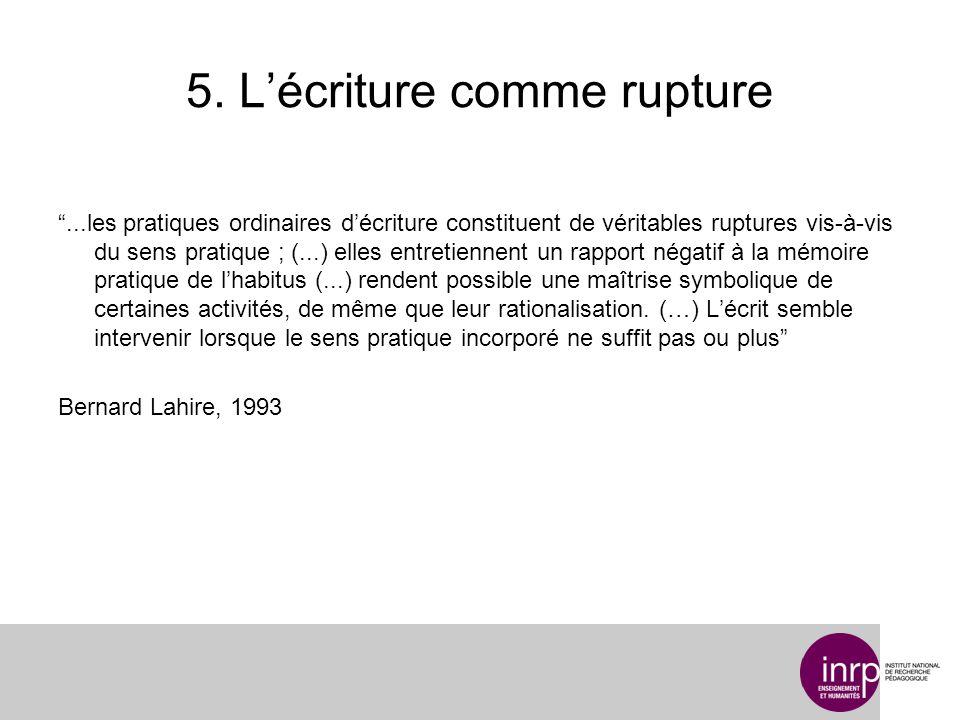 5. Lécriture comme rupture...les pratiques ordinaires décriture constituent de véritables ruptures vis-à-vis du sens pratique ; (...) elles entretienn