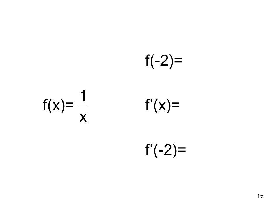 15 f(x)= f(-2)= f(x)= f(-2)=