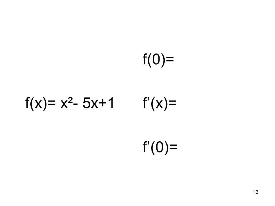 16 f(x)= x²- 5x+1 f(0)= f(x)= f(0)=
