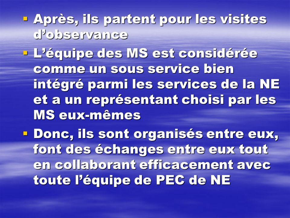 Après, ils partent pour les visites dobservance Après, ils partent pour les visites dobservance Léquipe des MS est considérée comme un sous service bi