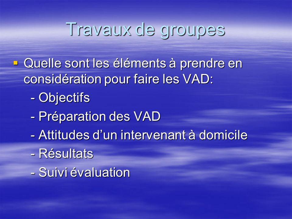 Travaux de groupes Quelle sont les éléments à prendre en considération pour faire les VAD: Quelle sont les éléments à prendre en considération pour fa
