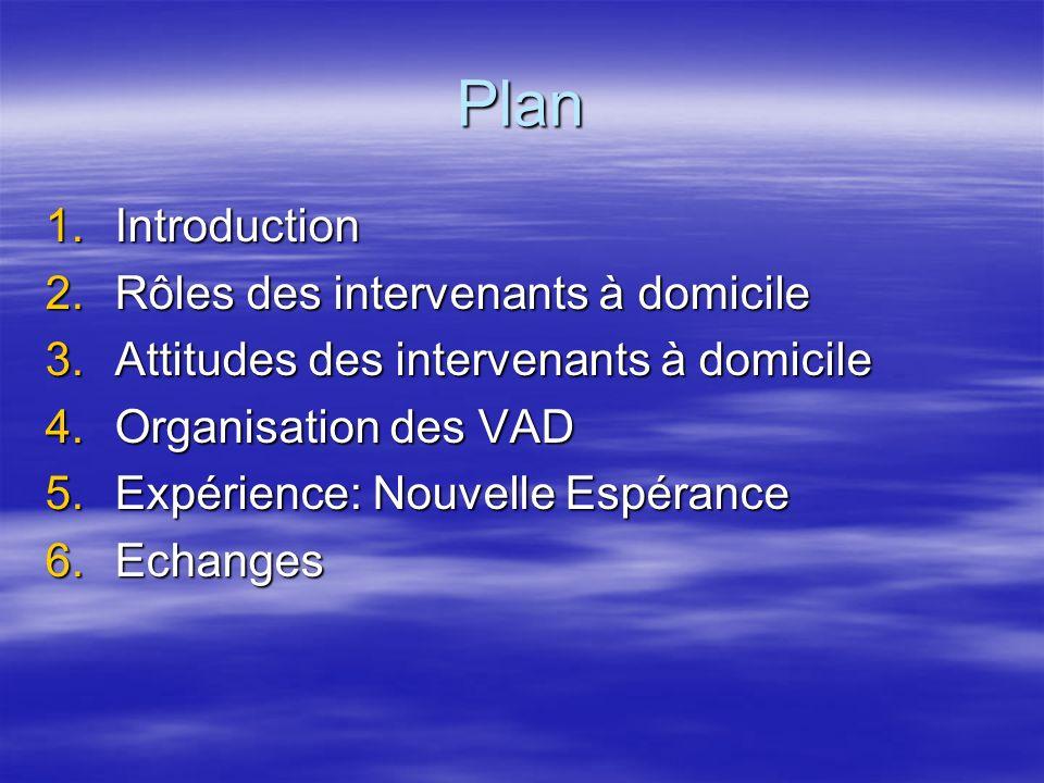 Plan 1.Introduction 2.Rôles des intervenants à domicile 3.Attitudes des intervenants à domicile 4.Organisation des VAD 5.Expérience: Nouvelle Espéranc
