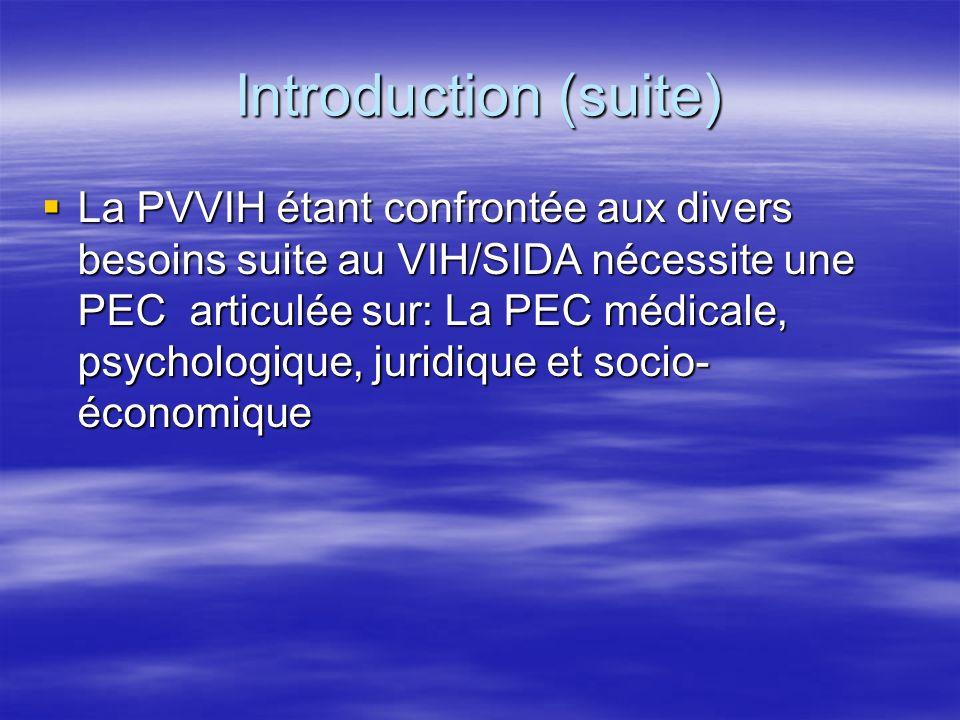 Introduction (suite) La PVVIH étant confrontée aux divers besoins suite au VIH/SIDA nécessite une PEC articulée sur: La PEC médicale, psychologique, j