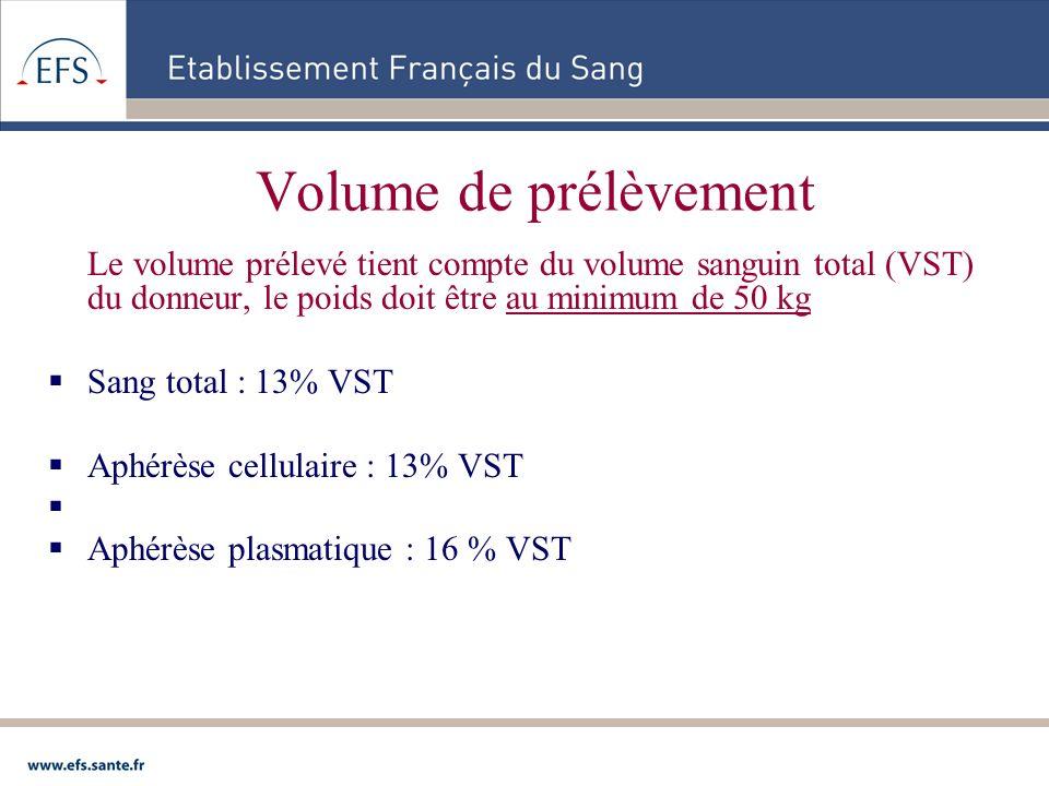 Volume de prélèvement Le volume prélevé tient compte du volume sanguin total (VST) du donneur, le poids doit être au minimum de 50 kg Sang total : 13%