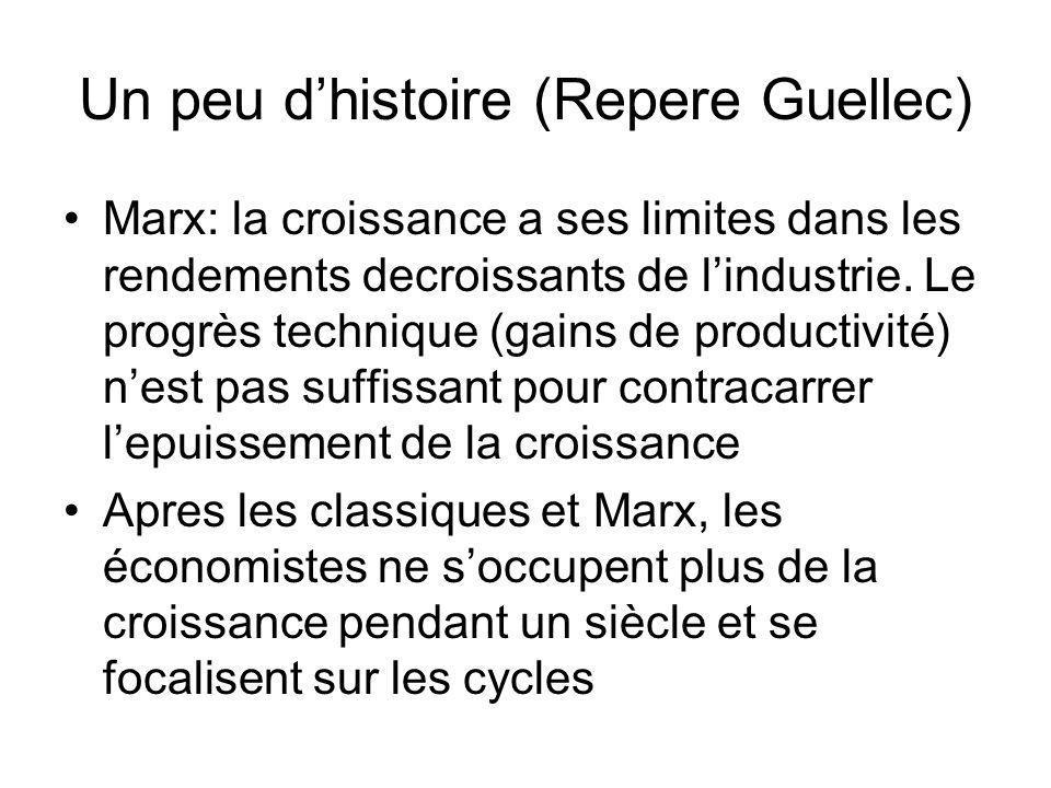 Un peu dhistoire (Repere Guellec) Marx: la croissance a ses limites dans les rendements decroissants de lindustrie. Le progrès technique (gains de pro