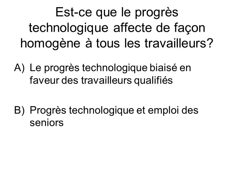 Est-ce que le progrès technologique affecte de façon homogène à tous les travailleurs? A)Le progrès technologique biaisé en faveur des travailleurs qu