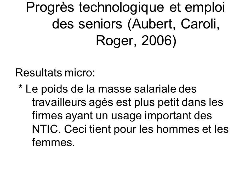 Resultats micro: * Le poids de la masse salariale des travailleurs agés est plus petit dans les firmes ayant un usage important des NTIC. Ceci tient p