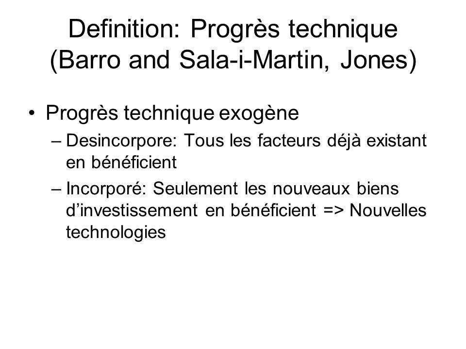 Definition: Progrès technique (Barro and Sala-i-Martin, Jones) Progrès technique exogène –Desincorpore: Tous les facteurs déjà existant en bénéficient