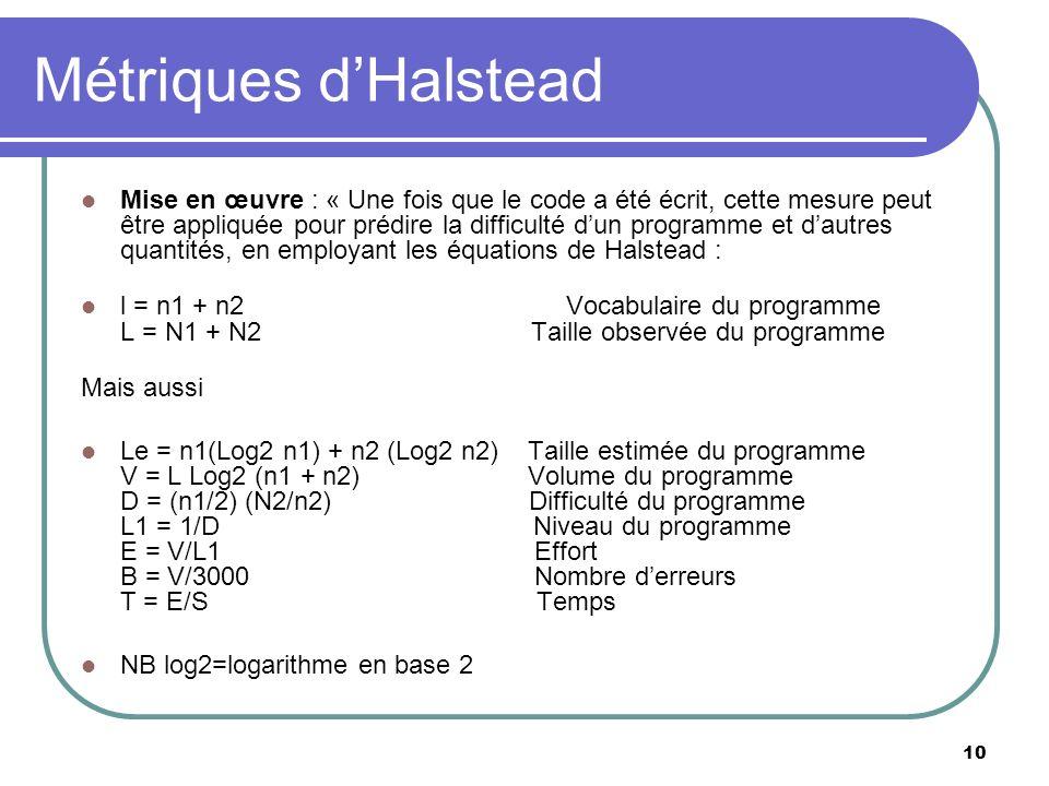 10 Métriques dHalstead Mise en œuvre : « Une fois que le code a été écrit, cette mesure peut être appliquée pour prédire la difficulté dun programme e