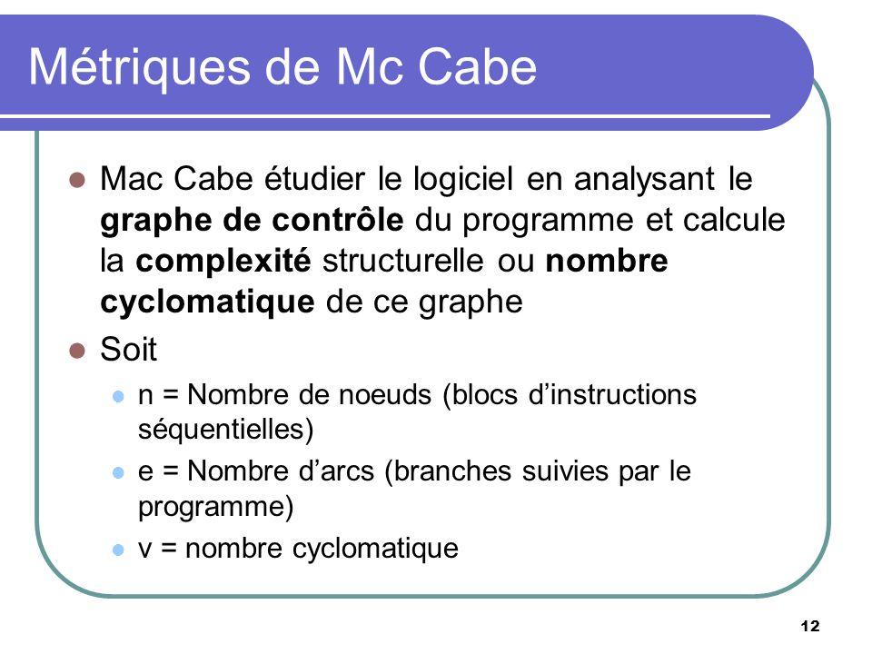 12 Métriques de Mc Cabe Mac Cabe étudier le logiciel en analysant le graphe de contrôle du programme et calcule la complexité structurelle ou nombre c