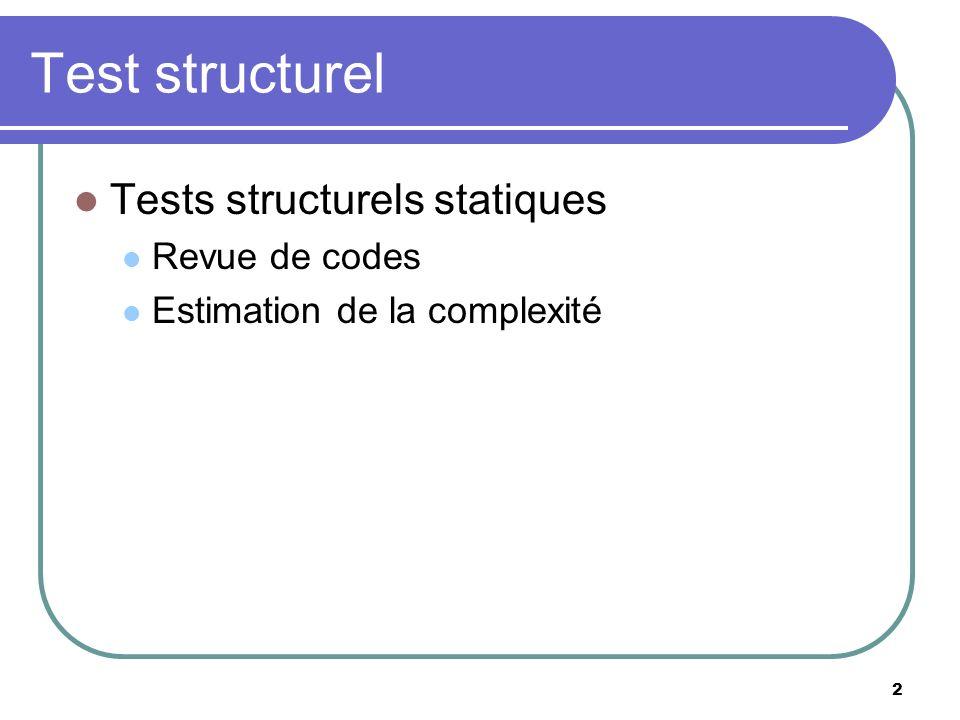 2 Test structurel Tests structurels statiques Revue de codes Estimation de la complexité
