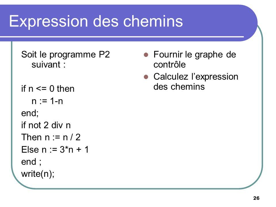 26 Expression des chemins Soit le programme P2 suivant : if n <= 0 then n := 1-n end; if not 2 div n Then n := n / 2 Else n := 3*n + 1 end ; write(n);