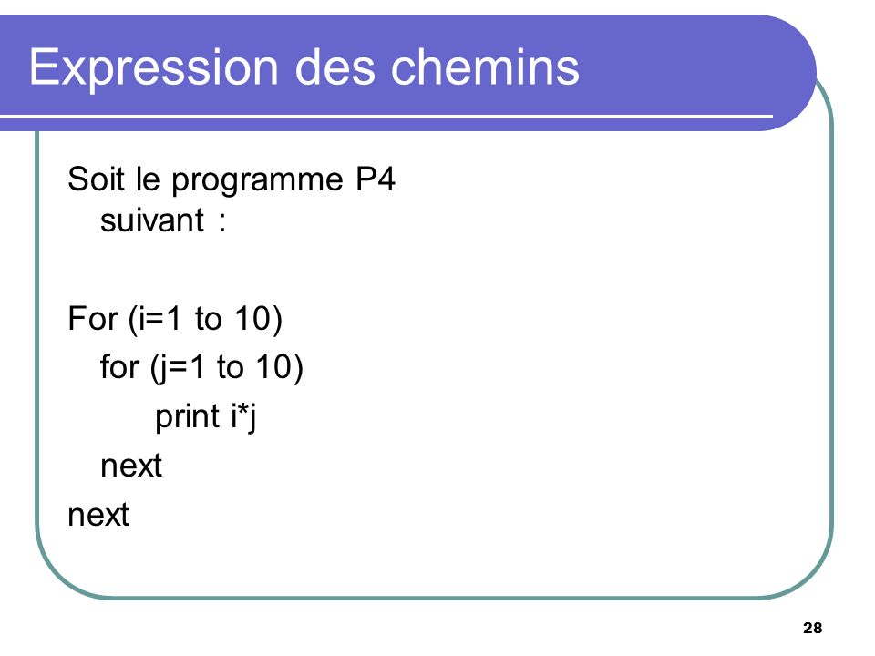 28 Expression des chemins Soit le programme P4 suivant : For (i=1 to 10) for (j=1 to 10) print i*j next