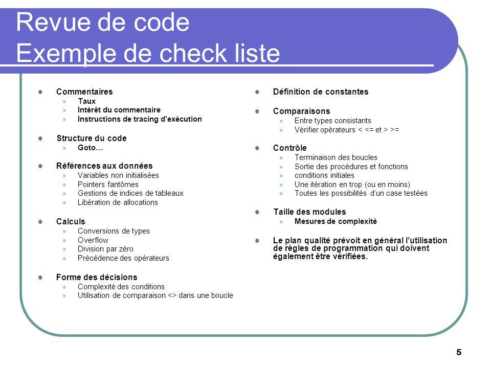5 Revue de code Exemple de check liste Commentaires Taux Intérêt du commentaire Instructions de tracing dexécution Structure du code Goto… Références