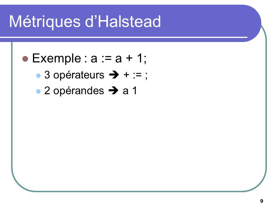 10 Métriques dHalstead Mise en œuvre : « Une fois que le code a été écrit, cette mesure peut être appliquée pour prédire la difficulté dun programme et dautres quantités, en employant les équations de Halstead : l = n1 + n2 Vocabulaire du programme L = N1 + N2 Taille observée du programme Mais aussi Le = n1(Log2 n1) + n2 (Log2 n2) Taille estimée du programme V = L Log2 (n1 + n2) Volume du programme D = (n1/2) (N2/n2) Difficulté du programme L1 = 1/D Niveau du programme E = V/L1 Effort B = V/3000 Nombre derreurs T = E/S Temps NB log2=logarithme en base 2