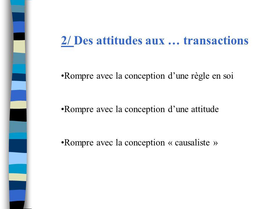 2/ Des attitudes aux … transactions Rompre avec la conception dune règle en soi Rompre avec la conception dune attitude Rompre avec la conception « ca