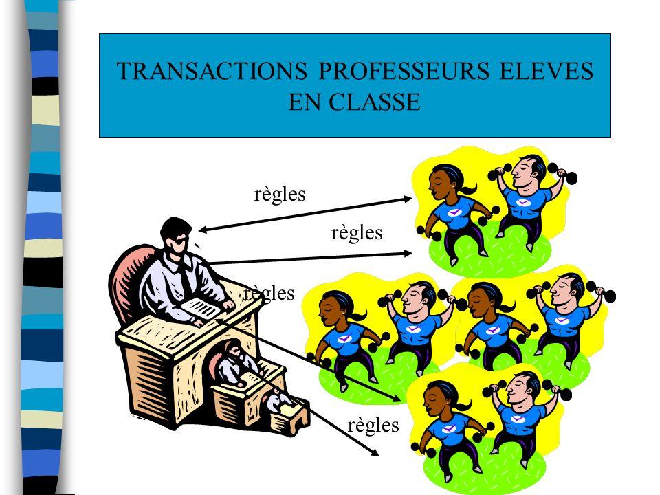 règles TRANSACTIONS PROFESSEURS ELEVES EN CLASSE
