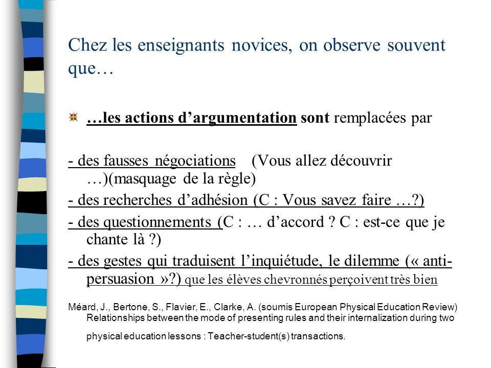 Chez les enseignants novices, on observe souvent que… …les actions dargumentation sont remplacées par - des fausses négociations (Vous allez découvrir