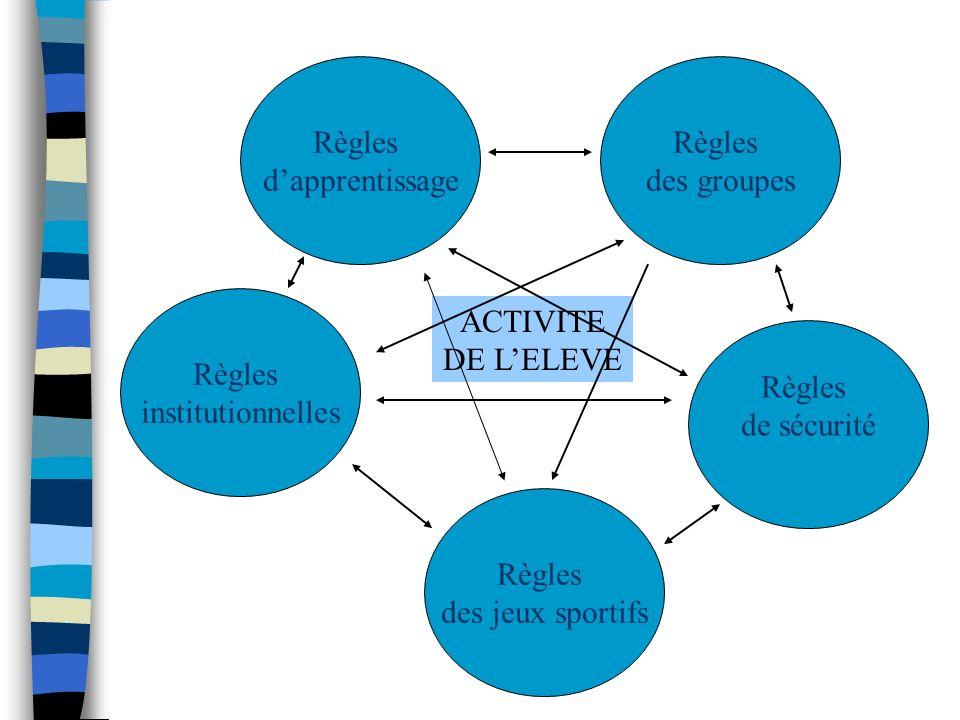 Règles institutionnelles Fonction sociale Fonction opératoire Règles groupales Règles des jeux Règles de sécurité Règles dapprentissage + + + + + + + - - -