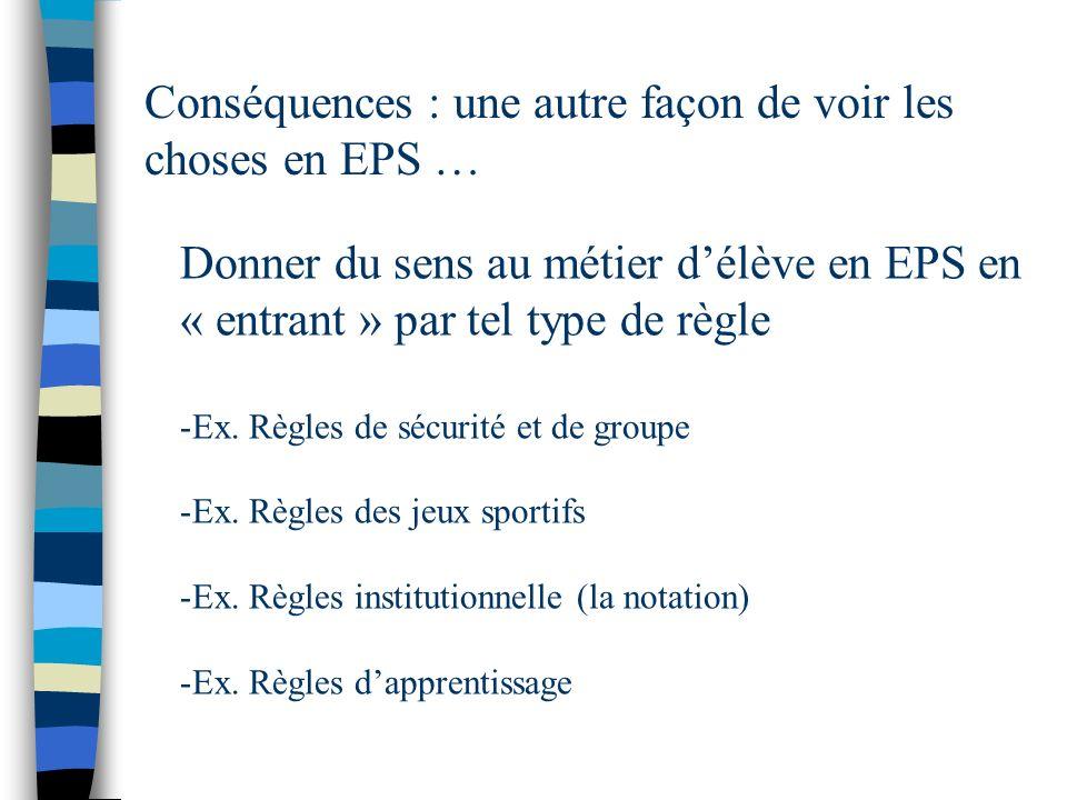 Conséquences : une autre façon de voir les choses en EPS … Donner du sens au métier délève en EPS en « entrant » par tel type de règle -Ex. Règles de