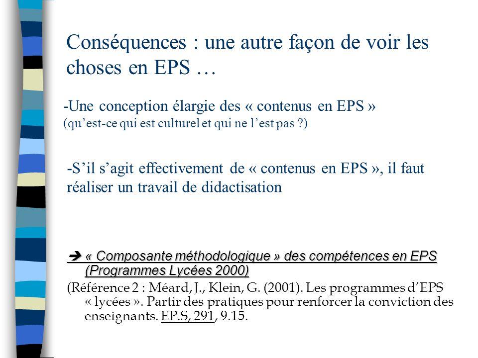 Conséquences : une autre façon de voir les choses en EPS … « Composante méthodologique » des compétences en EPS (Programmes Lycées 2000) « Composante
