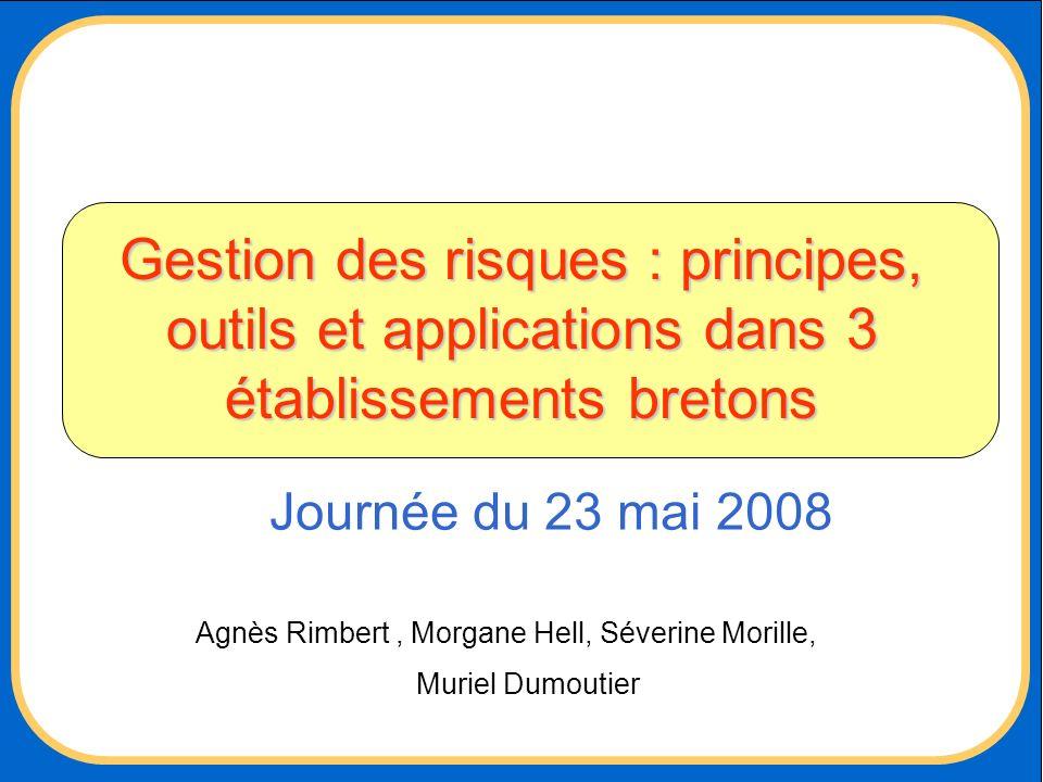 Gestion des risques : principes, outils et applications dans 3 établissements bretons Agnès Rimbert, Morgane Hell, Séverine Morille, Muriel Dumoutier