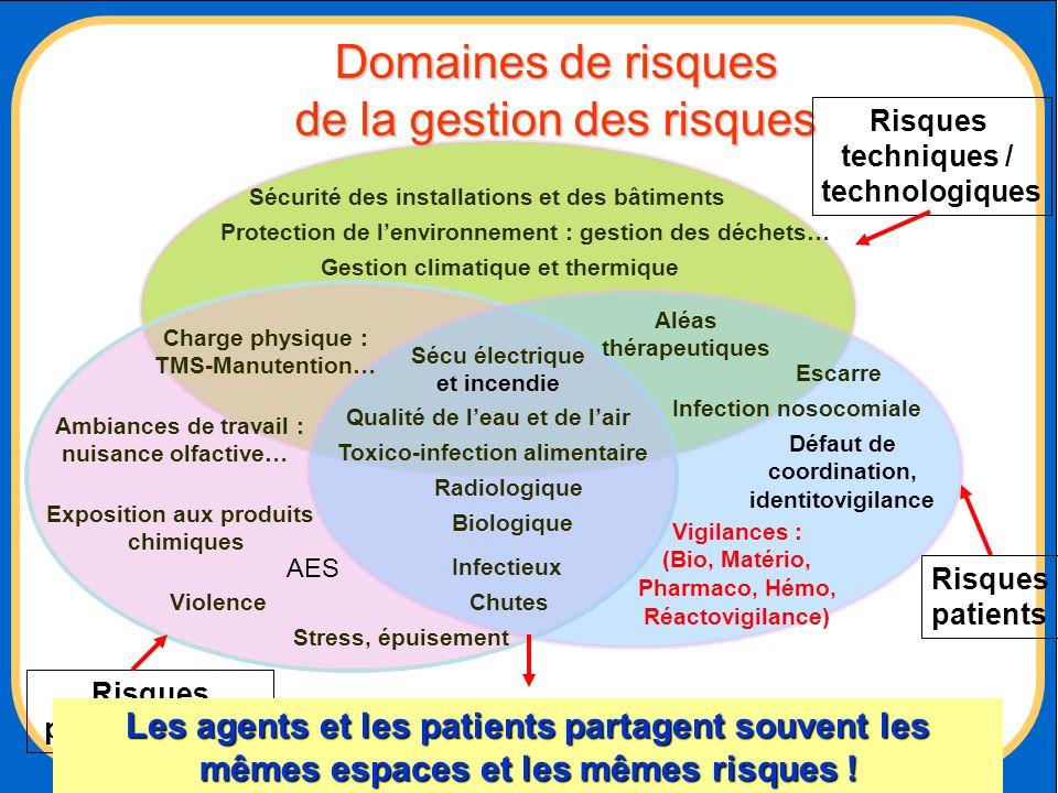 Risques professionnels Chutes Charge physique : TMS-Manutention… Biologique Toxico-infection alimentaire Risques patients Aléas thérapeutiques Radiolo