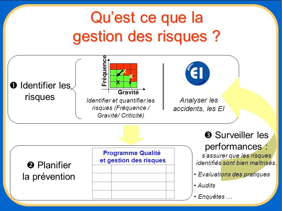 Quest ce que la gestion des risques ? Identifier les risques Planifier la prévention Programme Qualité et gestion des risques Analyser les accidents,