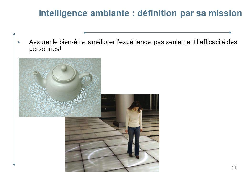 11 Intelligence ambiante : définition par sa mission Assurer le bien-être, améliorer lexpérience, pas seulement lefficacité des personnes!