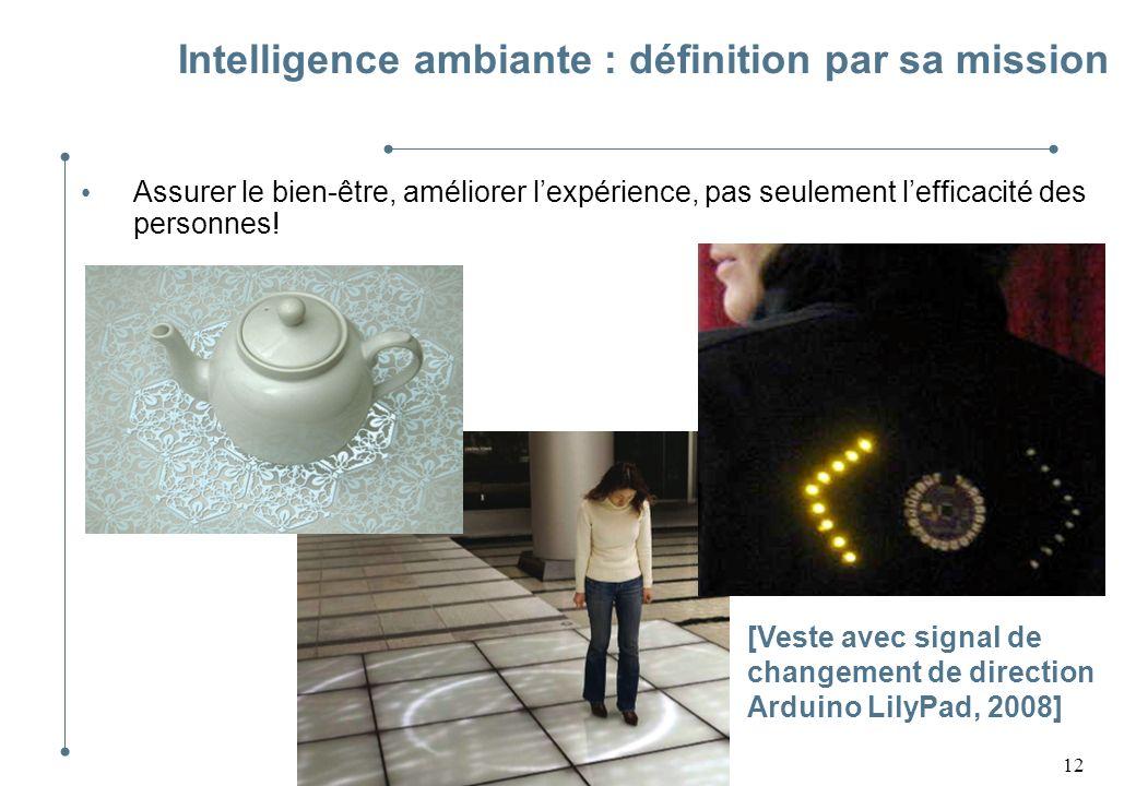 12 Intelligence ambiante : définition par sa mission Assurer le bien-être, améliorer lexpérience, pas seulement lefficacité des personnes! [Veste avec