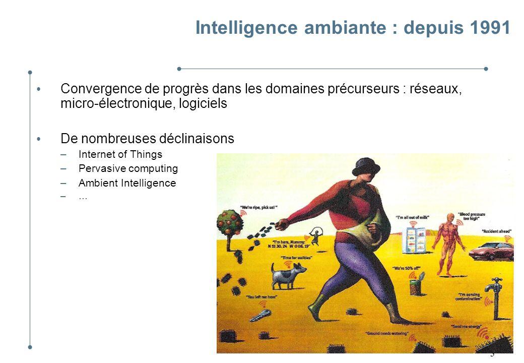 3 Intelligence ambiante : depuis 1991 Convergence de progrès dans les domaines précurseurs : réseaux, micro-électronique, logiciels De nombreuses décl