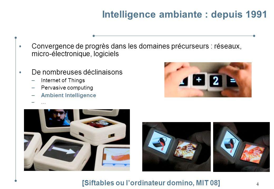 4 Intelligence ambiante : depuis 1991 Convergence de progrès dans les domaines précurseurs : réseaux, micro-électronique, logiciels De nombreuses décl