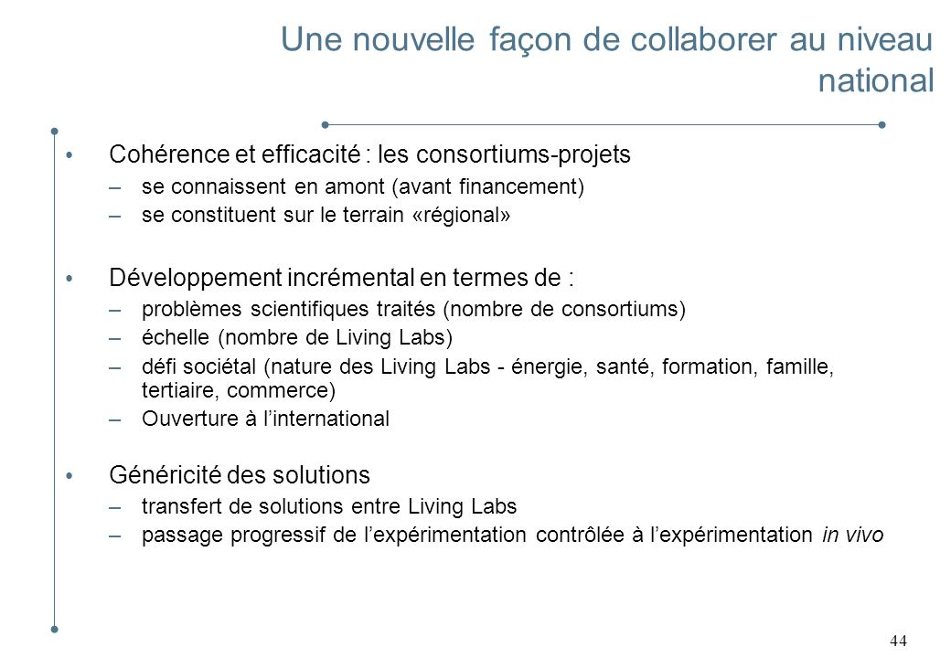 44 Cohérence et efficacité : les consortiums-projets –se connaissent en amont (avant financement) –se constituent sur le terrain «régional» Développem
