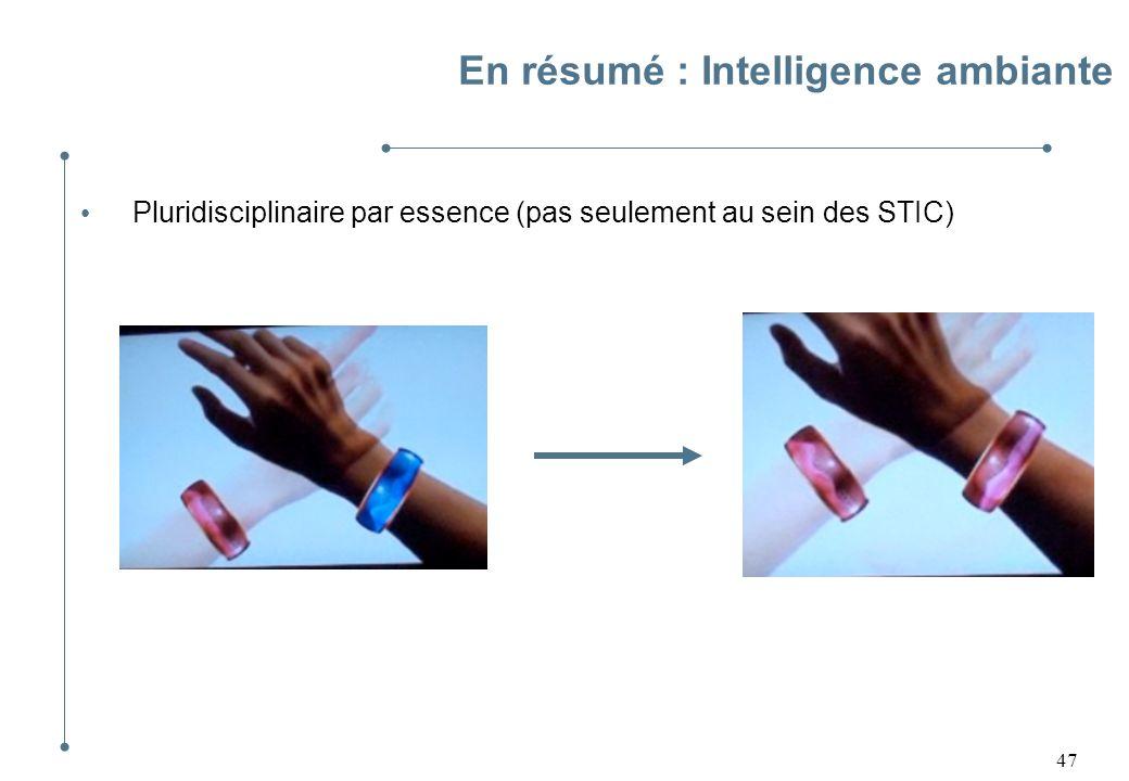 47 En résumé : Intelligence ambiante Pluridisciplinaire par essence (pas seulement au sein des STIC)