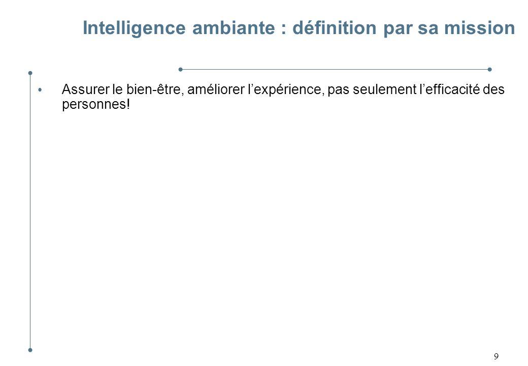 10 Intelligence ambiante : définition par sa mission Assurer le bien-être, améliorer lexpérience, pas seulement lefficacité des personnes.