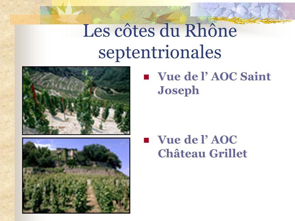 Les AOC régionales AOC COTES DU RHONE Appellation régionale du nord au sud / 6 départements AOC COTES DU RHONE VILLAGES Appellation régionale du nord
