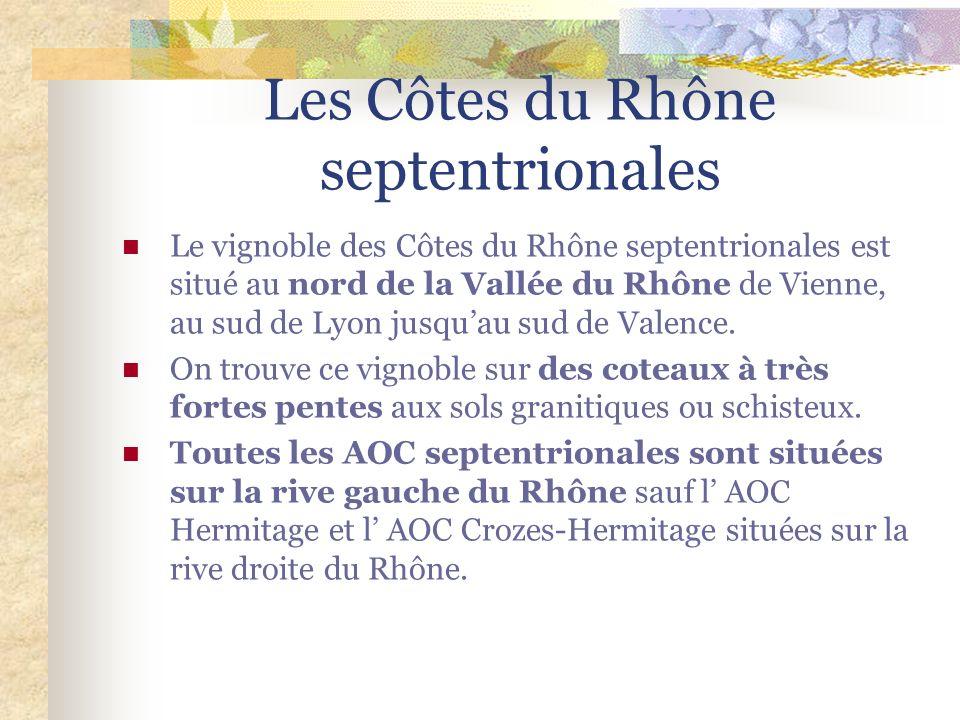 Les Côtes du Rhône septentrionales Le vignoble des Côtes du Rhône septentrionales est situé au nord de la Vallée du Rhône de Vienne, au sud de Lyon jusquau sud de Valence.