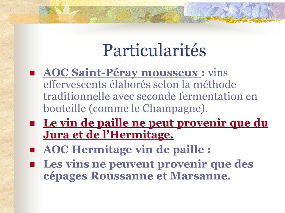 Particularités AOC Saint-Péray mousseux : vins effervescents élaborés selon la méthode traditionnelle avec seconde fermentation en bouteille (comme le Champagne).