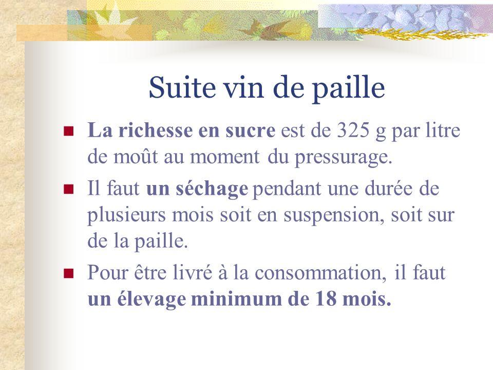 Suite vin de paille La richesse en sucre est de 325 g par litre de moût au moment du pressurage.