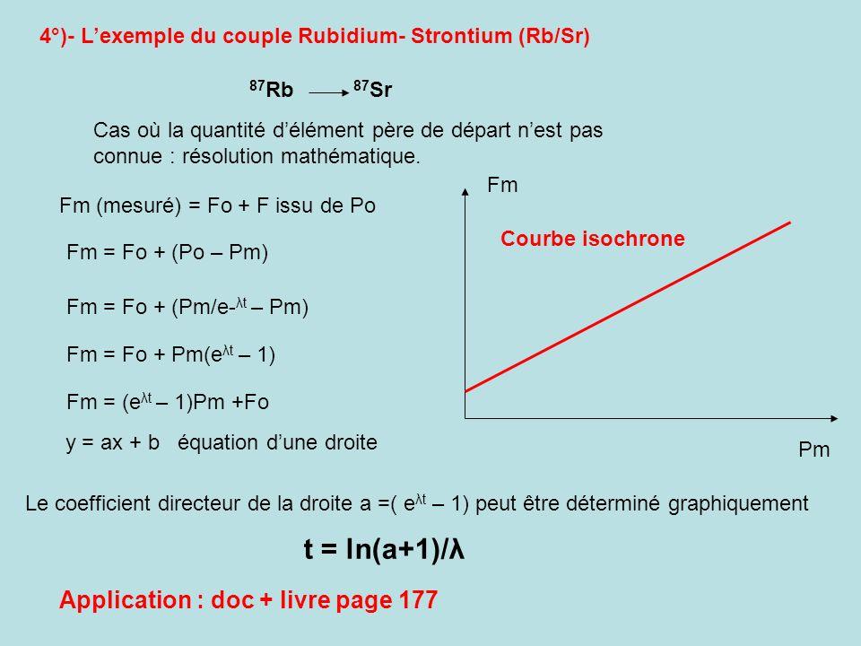 4°)- Lexemple du couple Rubidium- Strontium (Rb/Sr) Cas où la quantité délément père de départ nest pas connue : résolution mathématique. 87 Rb 87 Sr
