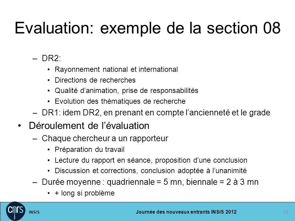 INSIS Journée des nouveaux entrants INSIS 2012 Evaluation: exemple de la section 08 –DR2: Rayonnement national et international Directions de recherch