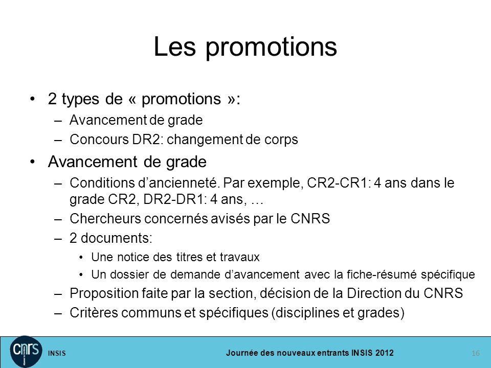 INSIS Journée des nouveaux entrants INSIS 2012 Les promotions 2 types de « promotions »: –Avancement de grade –Concours DR2: changement de corps Avanc